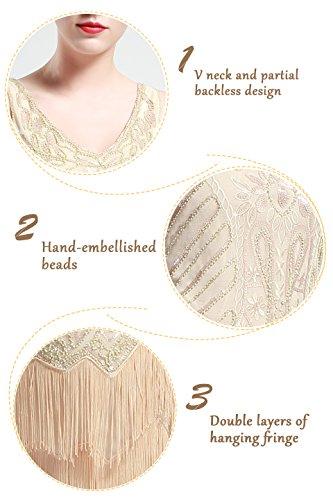 BABEYOND Damen Kleid Retro 1920er Stil Flapper Kleider mit zwei Schichten Troddel V Ausschnitt Great Gatsby Motto Party Kleider Damen Kostüm Kleid Beige