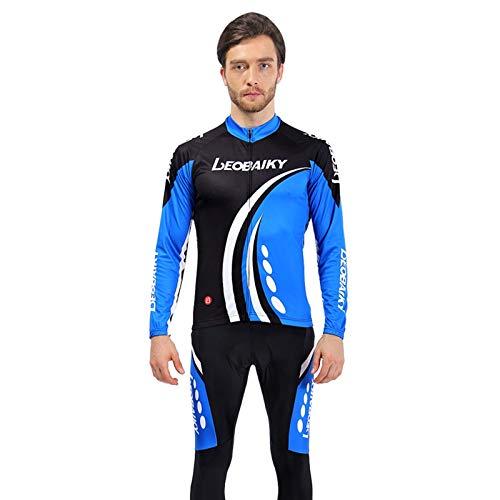 SonMo Schutz Radjacke + Fahrradhose Radfahren Jersey Set Fahrradbekleidung Set Langarm Radtrikot mit Sitzpolster Thermische Reflektorstreifen Schwarz Blau M