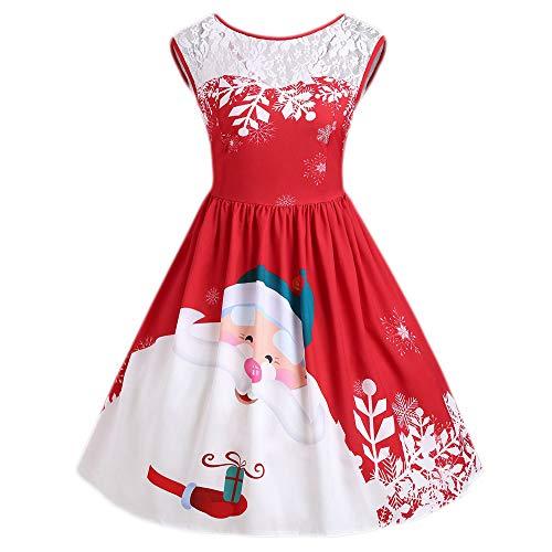MIRRAY Damen Frohe Weihnachten Spitze Einfügen Weihnachtsmann Gedruckt O-Ausschnitt Party Kleid Schwarz Grün Rot S-XL