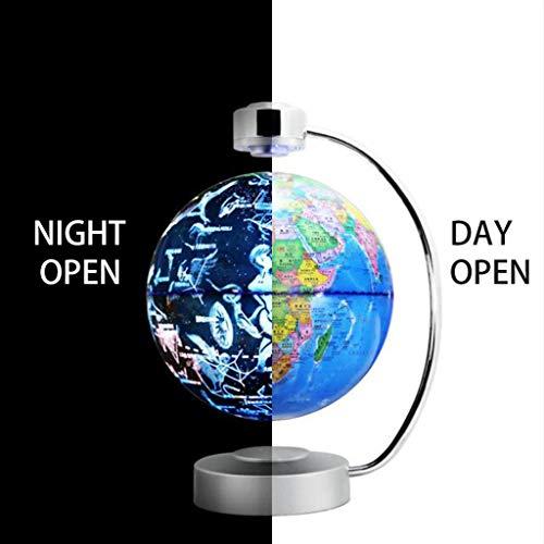 Levitación Magnética LED Luces Nocturnas con Globo y Constelación 2 Modo de Visualización 8 Pulgadas Rotación Mapa del Mundo Decoración Oficina Escritorio Lámpara para Aprendizaje Educación Enseñando