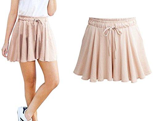 Aswinfon Damen Kurze Hose Sommer High Waist Casual Hot Pants Lose Beach Stoff Short Hosenrock Kurz (Abricot, 6XL)