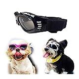 SymbolLife Occhiali da Sole per Cani di Piccola e Media Taglia Impermeabile Richiudibile Protezione per Gli Occhi Protezione UV Antiappannamento Regolabile (Nero)