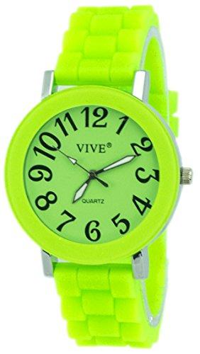 Einzigartige HOT SUN SUMMER TIME Edelstahl Armbanduhr in Gift Grün mit Silikonarmband Color Edition Sommer Farben