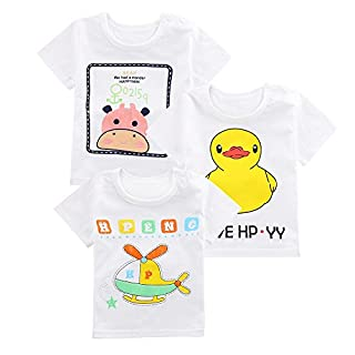 ATWFS Toddler Girls' & Boys' Tee 3-Pack Clothing Tops Cartoon Short Sleeve T-Shirt (Airplane+Duck+Cow, 3T)