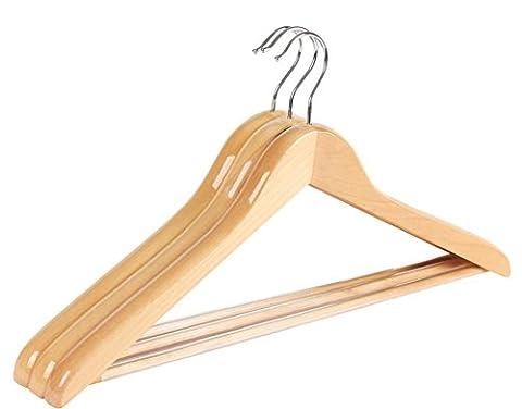 hanger Mantel Jacke Shirt Hosen Sätze von 10 natürlichen Finish massivem Holz Anzug mit dem hängenden Rod Schlupf
