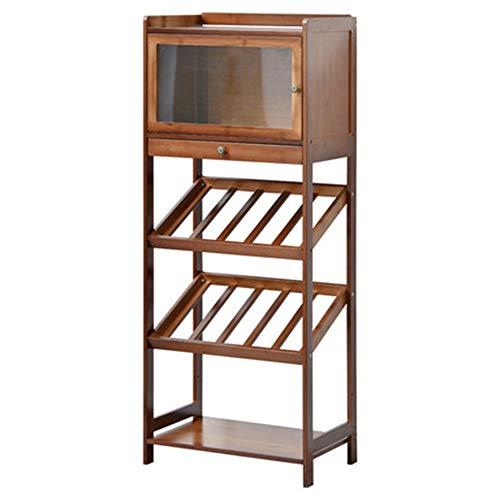 NBRTT Holz Wein Bar Ständer Display Rack, Lagerung stehend Flaschen Regal, große Kapazität Dicke Platte wackelfrei, Dekor Veranstalter Schnaps zu Hause Küche dekorieren -