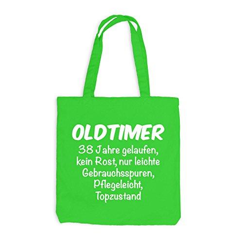 Jutebeutel - Oldtimer Geburtstag 38 Jahre - Birthday 38 Years Fun Geschenkidee Hellgrün