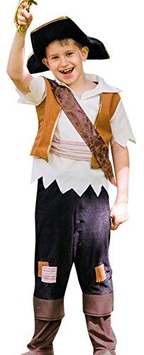 Preisvergleich Produktbild erdbeerloft - Jungen Karneval Komplett Kostüm Pirate Pete , Braun, Größe 134-146, 9-11 Jahre