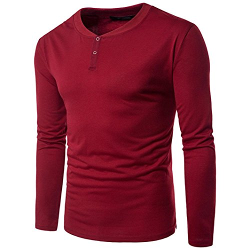 YunYoud Herren Beiläufig Lange Ärmel Hemd Geschäft Slim Fit Shirt Feste Bluse Tops (M, Rot)