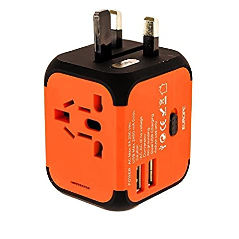 New Universal Travel Adapter Electric Plugs Sockets Converter Uk/EU/US/AU with Dual USB Charging 2.4A LED Power Indicator Electric Plugs UK EU US AU International Travel Plug Adaptor Charge