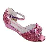 The Sparkle Club Girls Children Sparkly Pink Glitter and PU peep Toe Sandals Special Occasions and Holidays, Pink, 4 UK