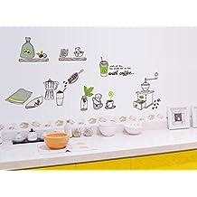 ufengke® Vajilla Utensilios de Cocina Personalizado Pegatinas de Pared, Cafetera Lavavajillas y Tazas de Café Etiquetas de la Pared / Murales Para Cocina Comedor