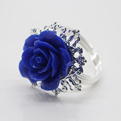 10 Bleu Argent décoratif rose rond de serviette serviette support pour fêtes de mariage Table Decor de nombreuses couleurs disponibles