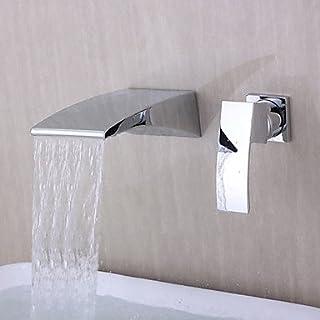 YMJ Waschbecken Wasserhahn - Wasserfall Wand Chrom 3-Loch-Armatur Einzigen Handgriff Zwei Löcher