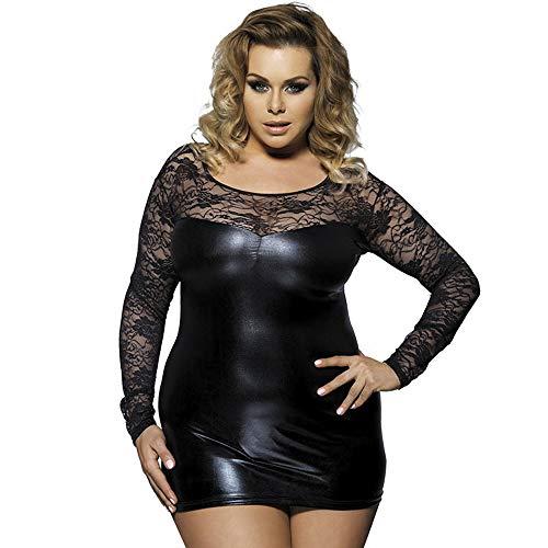 er Weiches Dekoratives Wet Look Babydoll Sexy Dessous PVC Minikleid Und Passendes Set Plus Size S-5XL Black-XXXL ()