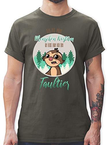 Karneval & Fasching - Das ist Mein Menschen Kostüm in echt Bin ich EIN Faultier - XL - Dunkelgrau - L190 - Herren T-Shirt und Männer Tshirt