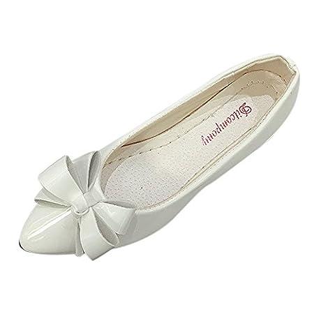 OVERMAL Fashion Orteil Femmes Flats Femme Chaussures Plates Des Ballerines Mesdames (40, Blanc)