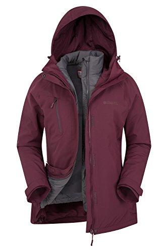 Mountain Warehouse Polar Damen 3 in 1 Regenjacke Warm Wasserdicht Winterjacke Doppeljacke Funktionsjacke mit Fleece-Innenteil Burgundrot DE 36 (EU 38)