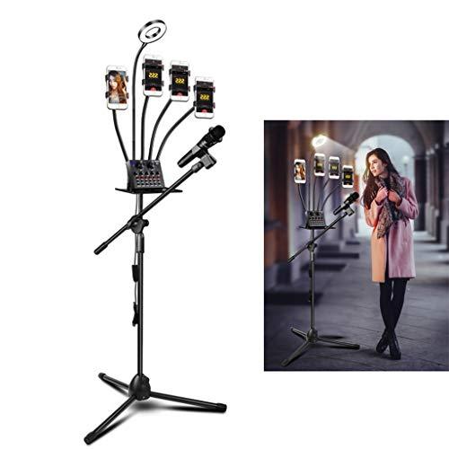 HULYZLB LED Selfie LichtLED Selfie Ringlicht mit 4 Handyhalter & Mikrofonhalter und Ablage für Video Chat Live Stream (Chat Vedio)