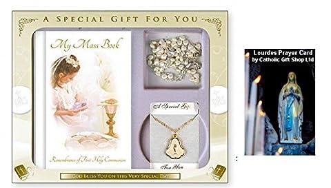 Girls Communion Heart Rosary Beads & Mass Book - First