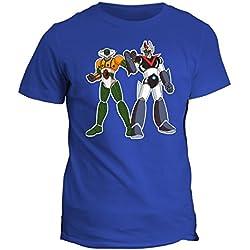Camiseta Jeeg Robot vs Mazinger Z, de algodón, niño Turquesa