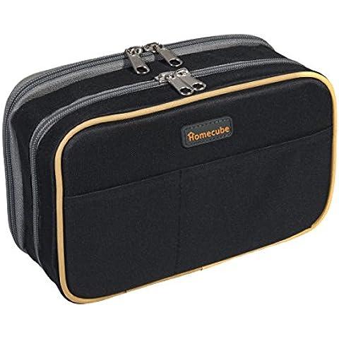 Caja de lápiz, Homecube de gran capacidad de la pluma del maquillaje bolsa bolsa Durable muchachas papelería dos bolsillos grandes con el doble de la cremallera 8.7x6x3.2