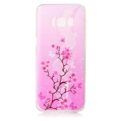 FESELE Silikon Handy Hülle für [Samsung Galaxy S8], Durchsichtig Ultradünn TPU Handytasche für Samsung Galaxy S8 Bunt Malerei Muster Transparente Schutzhülle Weiches Silikon Tasche Hüllen Rückschale S Rosa Blume Schmetterling