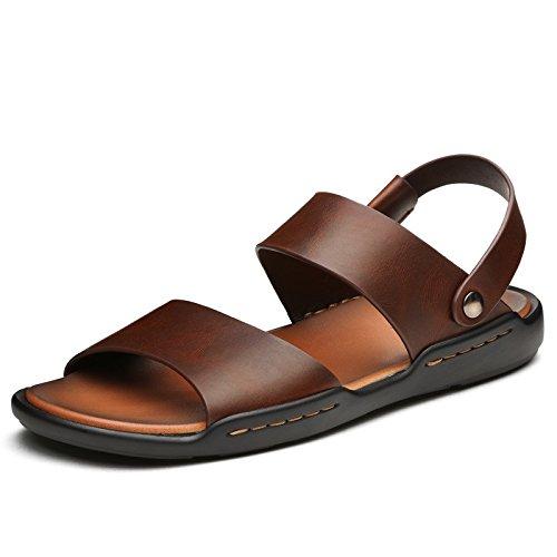 Fine Sandali estate stili casual sandali uomini di cuoio morbido scarpe antiscivolo,colore di cera d'api (Olio Cera Fine)