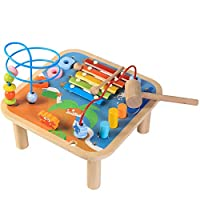 Bee Smart - Multi-function Wooden Activity Table 5-in-1 Centre, Xylophone, Hammer Bench, Shape Sorter, Bead Maze (New, minor paint and box imperfections)