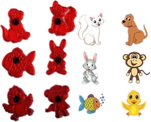 Tierwelt Ausstechformen,6 Set mit Katze,Hase,Hund,Fisch,Affe,Vogel