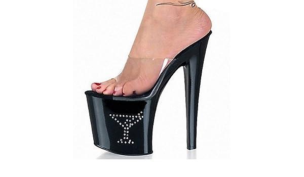 66c6d5373f6 LXILX Women s Heels Spring Summer Fall Comfort Novelty Club Shoes PVC  Wedding Dress Party   Evening Stiletto Heel Platform Crystal Black Walking