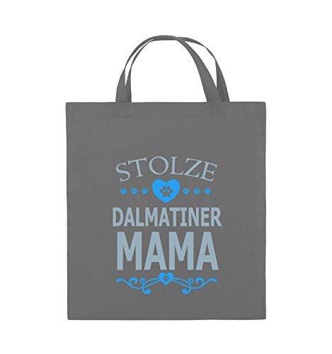 Comedy Bags - Stolze Dalmatiner Mama - HERZ - Jutebeutel - kurze Henkel - 38x42cm - Farbe: Schwarz / Weiss-Neongrün Dunkelgrau / Eisblau-Blau