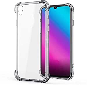 Prime Retail Dual Layer Bump Side Air Cushion Ultra Light Slim Shockproof Silicone Back Case Cover for Vivo Y90 - Transparent