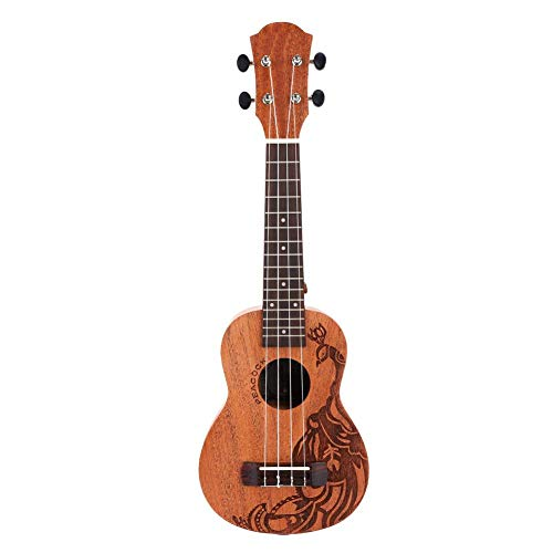 RiToEasysports Ukulele chitarra hawaiana ukulele chitarra per bambini portatile durevole 53,3 cm 15 tasti design pavone ukulele soprano in mogano