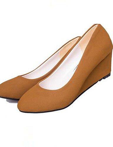 WSS 2016 Chaussures Femme-Bureau & Travail / Décontracté-Noir / Kaki-Talon Compensé-Talons-Talons-Synthétique black-us6 / eu36 / uk4 / cn36