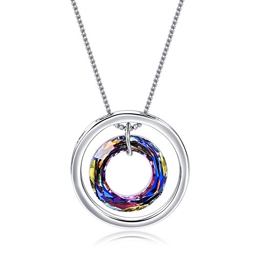 """Doofany Mother's Day Gift Crystal Gradient Mosaic Women's Pendant Necklace Made with Swarovski Crystal 16""""+2"""" Extender Mum, Thank you for all you do"""