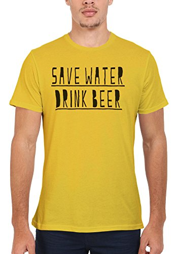 Save Water Drink Beer Slogan Funny Men Women Damen Herren Unisex Top T Shirt Licht Gelb