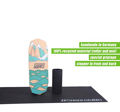 BoarderKING Indoorboard Limited Edition Berge Skateboard Surfboard Trickboard Balanceboard Balance Board (Oktagon, 125 mm)