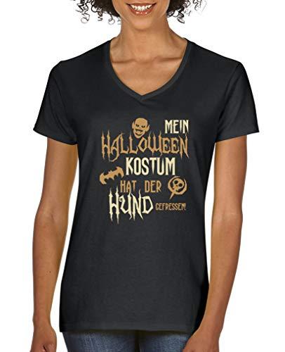 Comedy Shirts - Mein Halloween Kostuem hat der Hund gefressen - Damen V-Neck T-Shirt - Schwarz/Hellbraun-Beige Gr. L