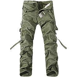Panegy Nuevo Pantalones Cargo de Hombre para Trabajo Viaje Gran Tamaño Multi Bolsillos - Verde Militar Talla 32