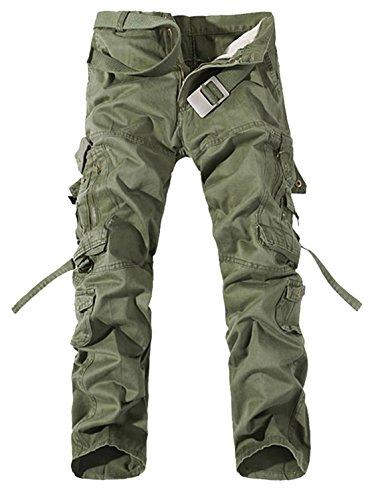 Panegy Nuevo Pantalones Cargo de Hombre para Trabajo Viaje Gran Tamaño Multi Bolsillos - Verde Militar Talla 34