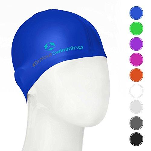 #DoYourSwimming KINDER - Badekappe/Schwimmhaube | für Kinder (Mädchen/Jungen) bis ca. 10Jahre| Silikon (100% wasserdicht) - elastische Badekappe/Schwimmkappe - Tragekomfort »Goldfisch« blau