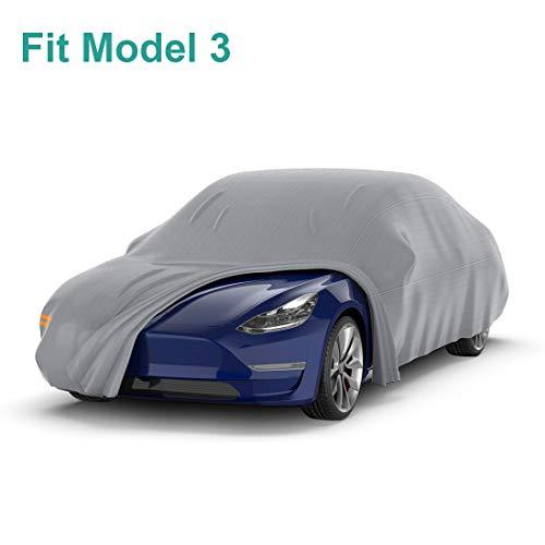 BougeRV Autoabdeckung Wasserdicht für Tesla Model 3 Auto Vollgarage Abdeckplane Autogarage Allwetterschutz Autoplanen mit verstellbaren Schnallenriemen und Reflexstreifen
