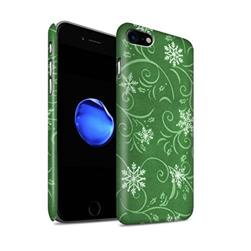 STUFF4 Matte Snap-On Hülle / Case für Apple iPhone 8 / Rot Muster / Schneeflocke-Muster Kollektion Grün