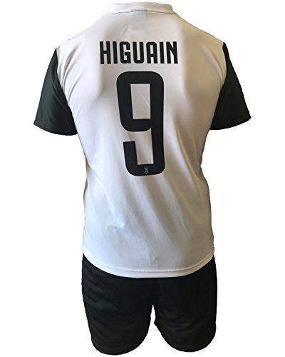 Conjunto Equipacion Camiseta Pantalones Futbol Juventus Gonzalo Higuain 9 Replica Autorizado 2017-2018 Niños Adultos (Talla Small)