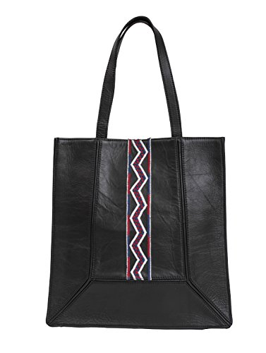 Paint Genuine Leather Black Embroidered Tote Bag