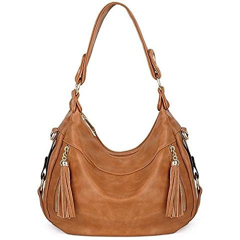 UTO Women Handbag PU Leather Purse Hobo Style Shoulder Bag Brown Tan