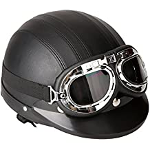 dbebd88e7690a SODIAL(R)Casco de cuero de la motocicleta la motocicleta abierto la media  cara