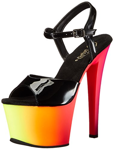 Pleaser Rainbow-309uv, Sandales  Bout ouvert femme - Mehrfarbig (Mehrfarbig (Blk Pat/Neon Multi))