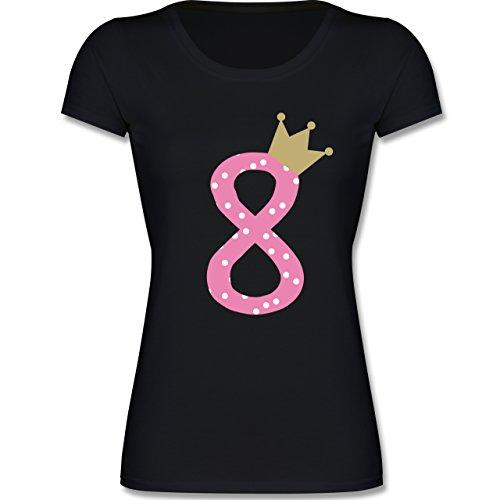 Geburtstag Kind - 8. Geburtstag Krone Mädchen Achter - 128 (7-8 Jahre) - Schwarz - F288K - Mädchen - Geburtstags-shirt 7.